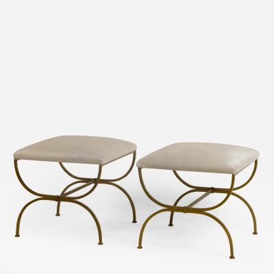 Design Fr res Pair of Large Strapontin White Hide Stools by Design Fr res