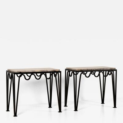 Design Fr res Pair of M andre Black Iron and Silver Travertine Side Tables by Design Fr res