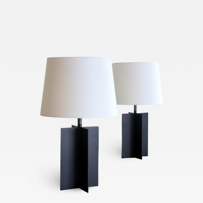 Design Fr res Pair of Medium Croisillon Matte Black Steel Table Lamps by Design Fr res