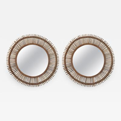 Design Fr res Pair of Oculus Round Rattan Convex Mirrors
