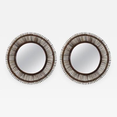Design Fr res Pair of Oculus Round Rattan Mirrors