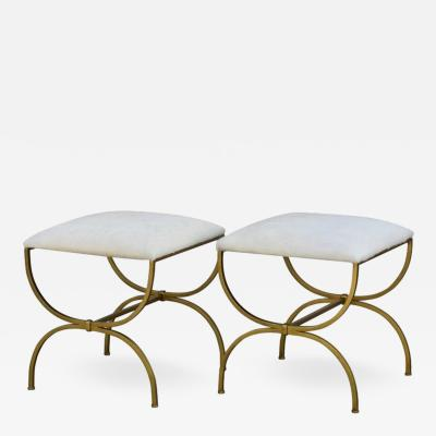 Design Fr res Pair of Strapontin Gilt Iron and Hide Stools