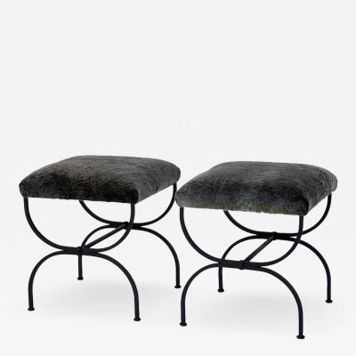 Design Fr res Pair of Strapontin Wrought Iron and Fur Stools