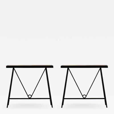 Design Fr res Pair of Trap ze Blackened Steel and Goatskin Consoles by Design Fr res