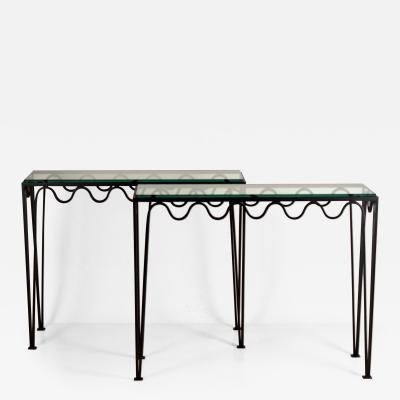 Design Fr res Pair of Undulating M andre Wrought Iron and Glass Consoles by Design Fr res