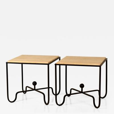 Design Fr res Pair of Wrought Iron and Travertine Entretoise Side Tables by Design Fr res