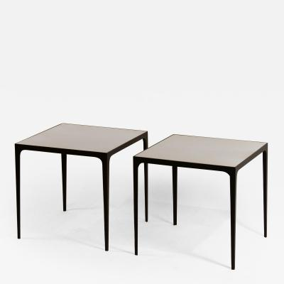 Design Fr res Pair of large Esquisse Wrought Iron and Parchment Side Tables by Design Fr res