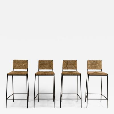 Design Fr res Set of 4 Campagne Steel and Rush Counter Stools by Design Fr res