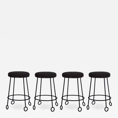 Design Fr res Set of 4 Chic Wrought Iron and Boucle Counter Stools