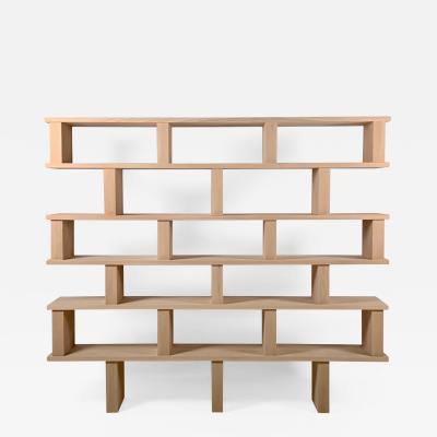 Design Fr res Six Shelves Verticale Polished Oak Shelving Unit
