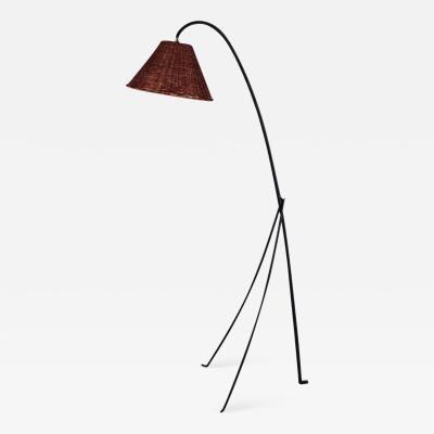Design Fr res Slender Wrought Iron and Rattan Floor Lamp