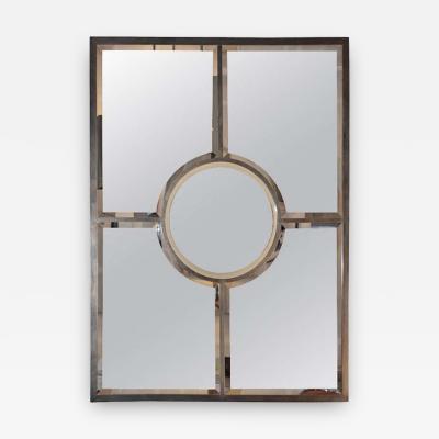 Design Fr res The Quadrature Patinated Brass Beveled Mirror