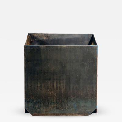 Design Fr res The large Cubiste Patinated Steel Plate Planter