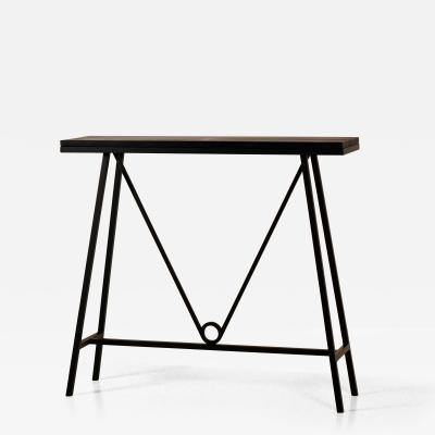 Design Fr res Trap ze Blackened Steel and Goatskin Console by Design Fr res
