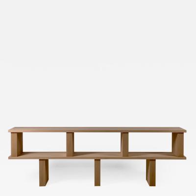 Design Fr res Two Shelves Verticale Polished Oak Shelving Unit