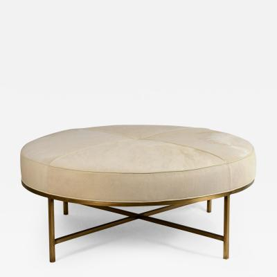 Design Fr res White Hide and Patinated Brass Tambour Ottoman by Design Fr res