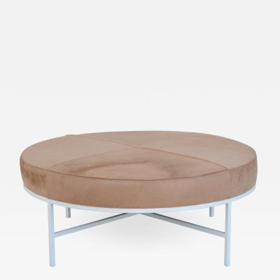 Design Fr res White and Beige Hide Tambour Ottoman or Coffee Table by Design Fr res