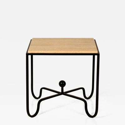 Design Fr res Wrought Iron and Travertine Entretoise Side Table by Design Fr res