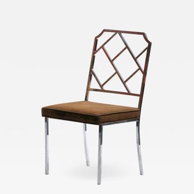Design Institute America 1970s Chinese Chippendale Chrome Side Chair for Design Institute of America