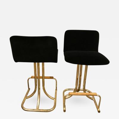 Design Institute America 2 Sets of 4 Mid Century Modern Black Velvet Brass Wood Bar Stools