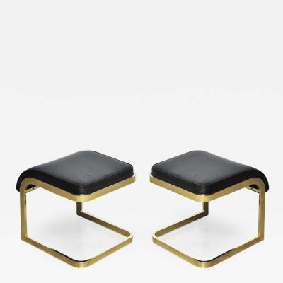 Design Institute America Brass and Leather Stools by DIA