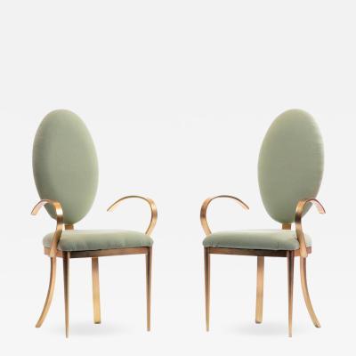 Design Institute America Design Institute of America Brushed Brass Tall Oval Back Side Chairs