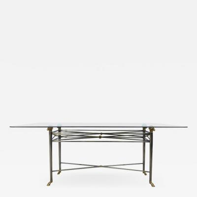 Design Institute America Italianate DIA Steel and Brass Dining Table with Rams Heads and Hoof Feet