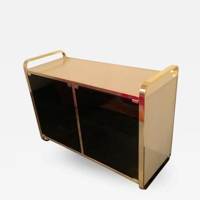 Design Institute America Mid Century Modern Black Cream Glass and Brass Bar