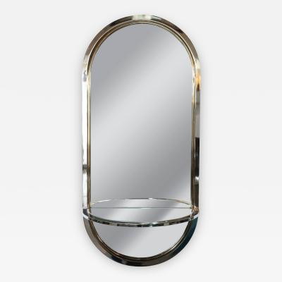 Design Institute America Mid Century Modern Chrome and Brass Mirror with Console