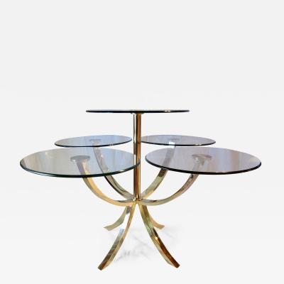 Design Institute America Midcentury Brass and Glass Dining Table Circle of Life D I A 1970