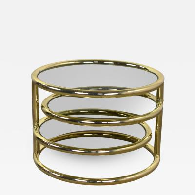 Design Institute America Modern round brass smoke glass end table or coffee table w pivoting tiers