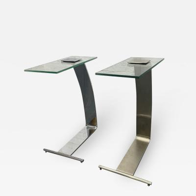 Design Institute America Pair Nickel and Glass Cantilevered Side Tables by Design Institute of America