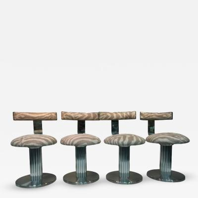 Design Institute America Rare and Exceptional Set of Four Chrome Bar Stools or Side Chairs by DIA