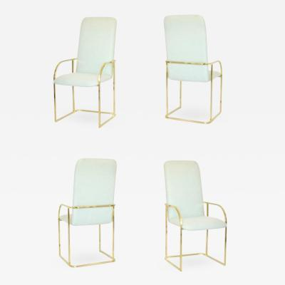 Design Institute America Set of Four Postmodern DIA Brass Framed Armchairs Games Chairs