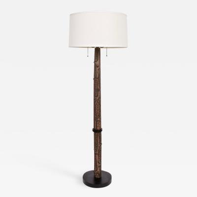 Design Technics Lee Rosen for Design Technics Incised Arboreal Ceramic Floor Lamp 1965