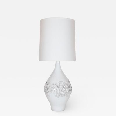 Design Technics Mid Century Modern Sculptural White Ceramic Table Lamp by Design Technics