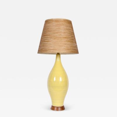 Design Technics Monumental Design Technics Yellow Banded Gloss Glaze Art Pottery Table Lamp