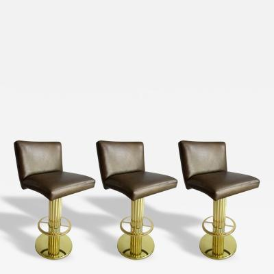 Design for Leisure Ltd Three Mid Century Modern Bar Stools in the Style of Karl Springer