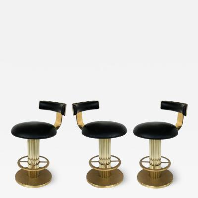 Designs for Leisure Ltd Design For Leisure Leather and Brass Counter Stools Set of 3