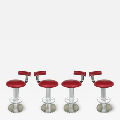 Designs for Leisure Ltd Design for Leisure Stainless and Leather Bar Stools Set of 4 Swivel Stools
