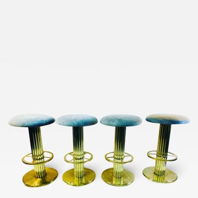 Designs for Leisure Ltd SUITE OF FOUR BRASS MODERNIST STOOLS BY DESIGNS FOR LEISURE
