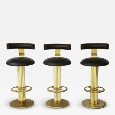Designs for Leisure Ltd Set of Three Designs for Leisure Barstools in Brass
