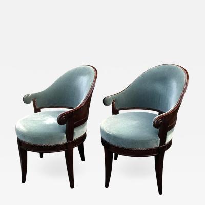 Dessin Fournir Companies Dessin Fournir Art Deco Mahogany La Mont Barrel Chairs a Pair