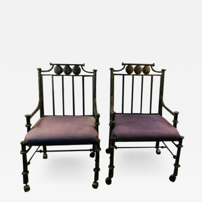 Diego Giacometti BRUTALIST PAIR OF METAL ARM CHAIRS IN THE MANNER OF DIEGO GIACOMETTI