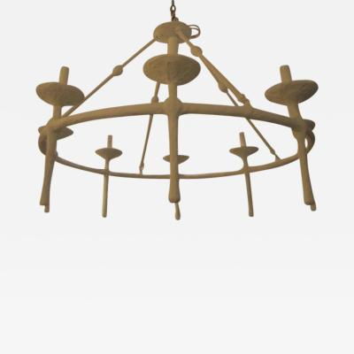 Diego Giacometti Contemporary Eight Light Plaster Chandelier in the Giacometti Manner