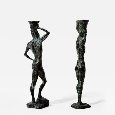 Diego Giacometti Mid Century Modern Bronze Sculpture Candle Holders