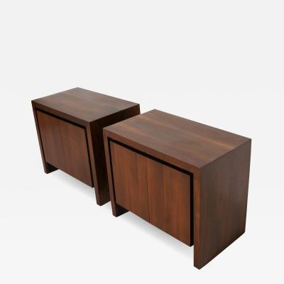 Dillingham Manufacturing Company Fabulous Modern Dillingham Side Table Nightstands Swing Doors Rich Walnut 1970s