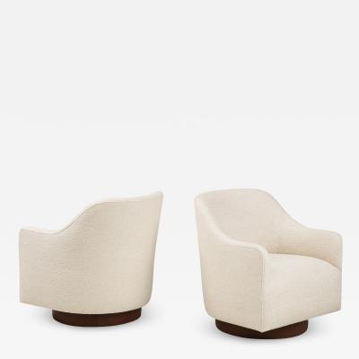 Directional Directional Ivory Boucle Club Chairs