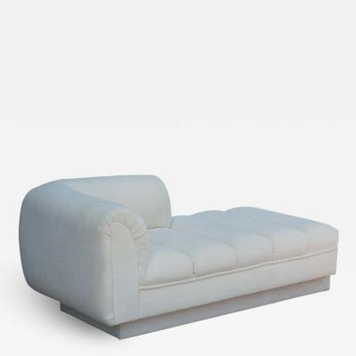 Directional Mid Century Modern White Channel Seat Chaise Lounge in White by Directional