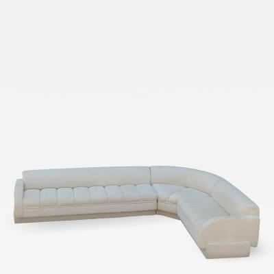 Directional Mid Century Modern White Channel Seat Sectional Sofa in White by Directional